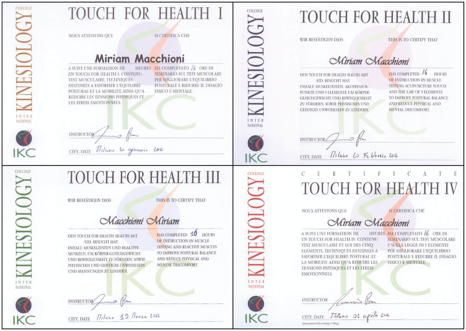 Diploma Touch For Health I-II-III-IV