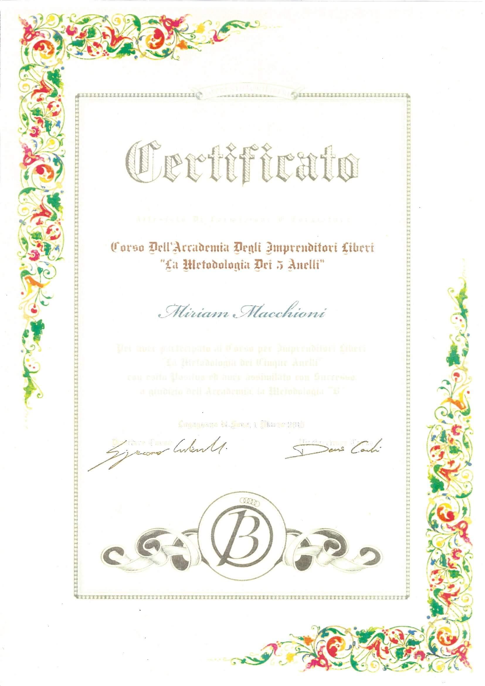 Diploma Accademia Imprenditori Liberi