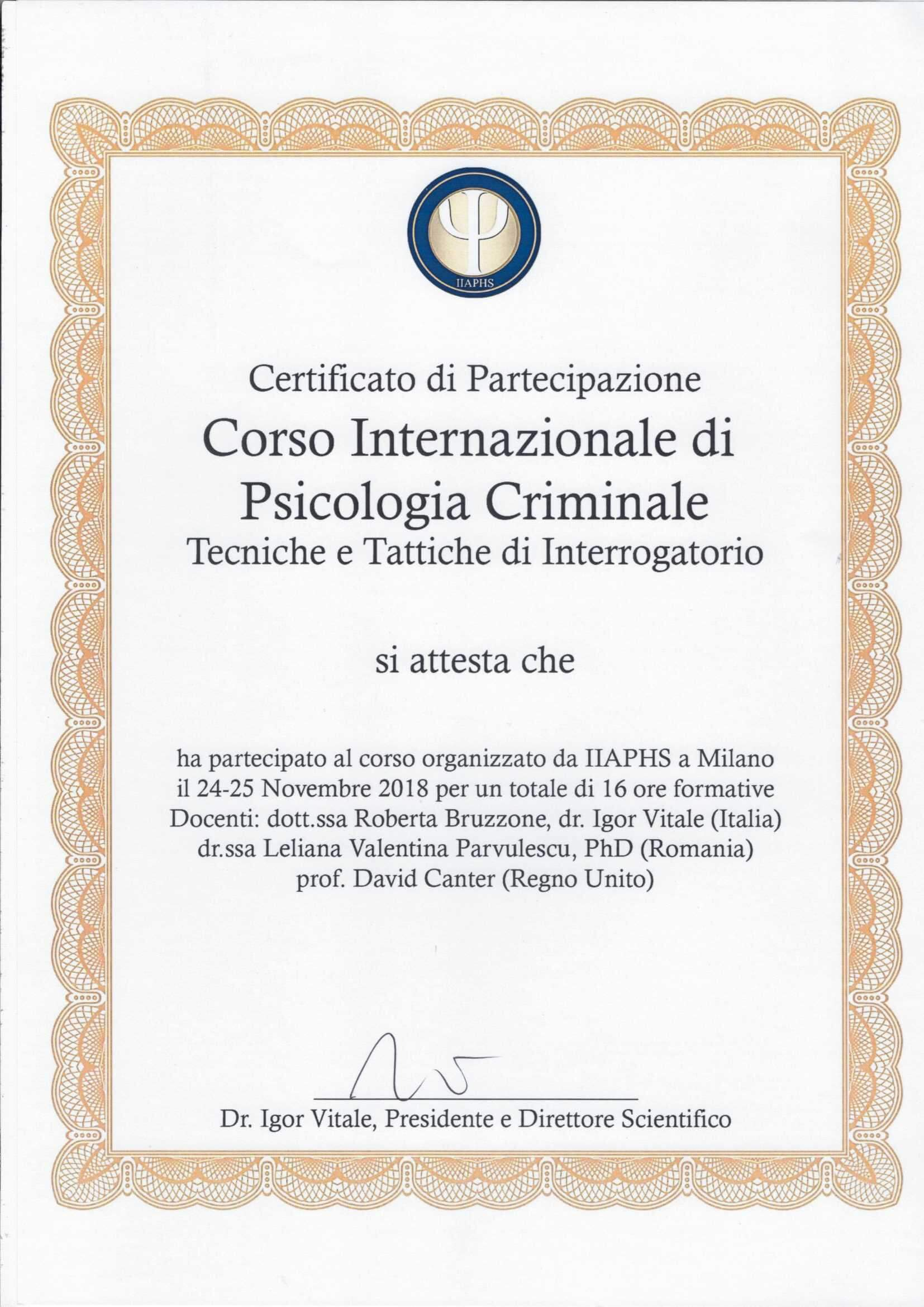 Corso internazionale di psicologia criminale